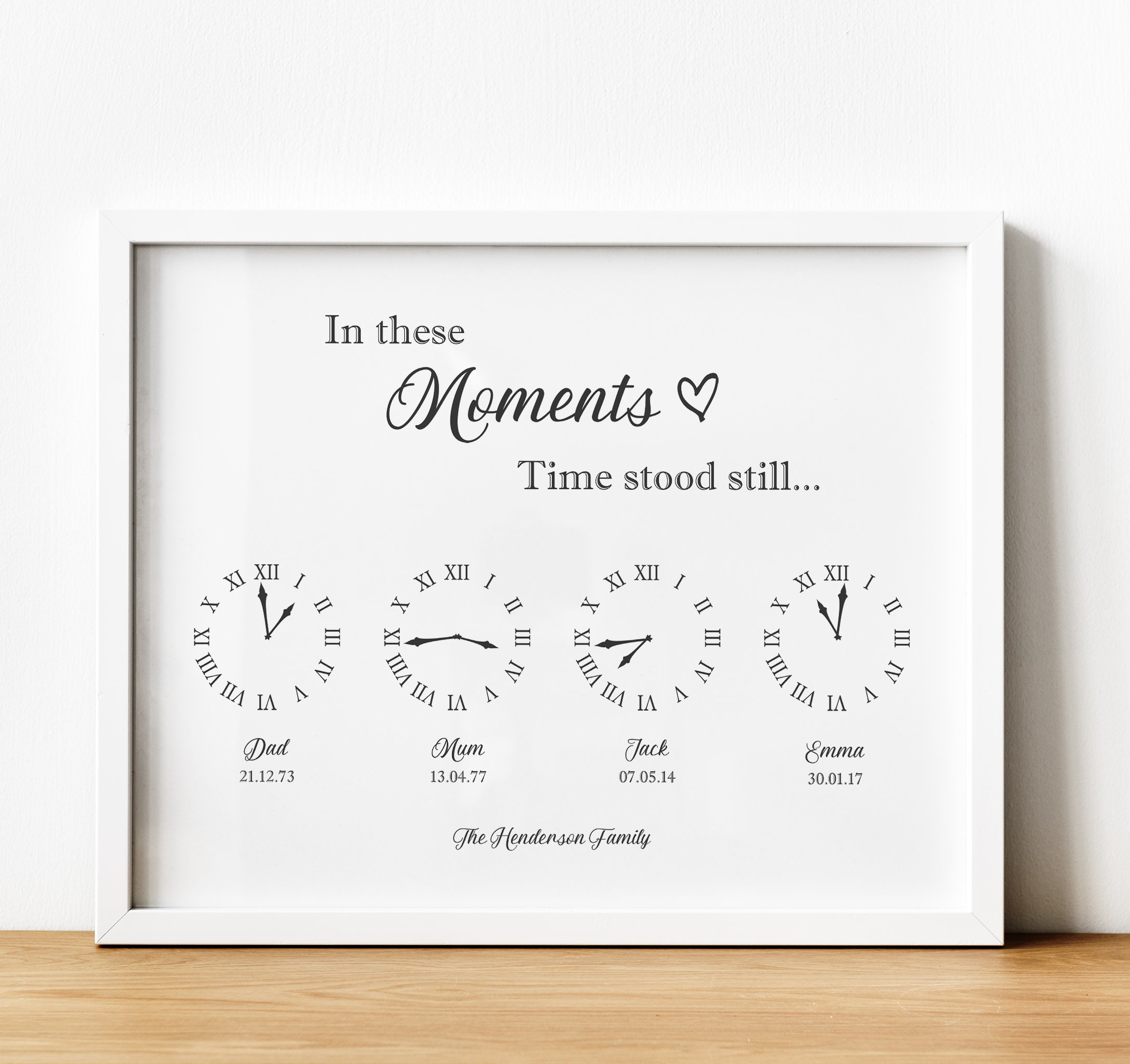 Personalised When time stood still family//wedding//birth plaque unique gift.