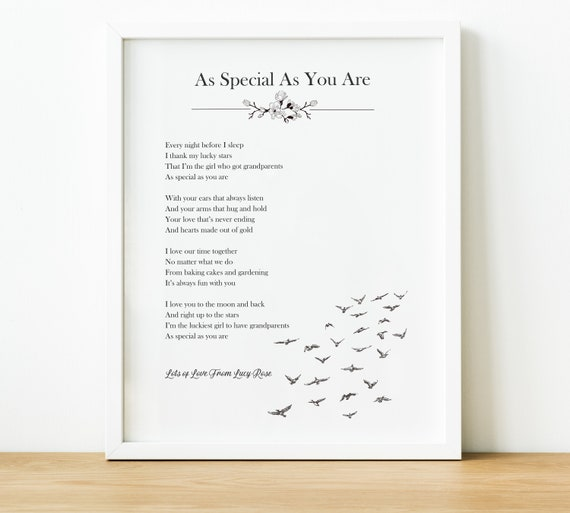 Personalised Grandparents Poem Custom Poem Print Grey And White Modern Typography Art Grandpa And Nana Gift From Grandchildren