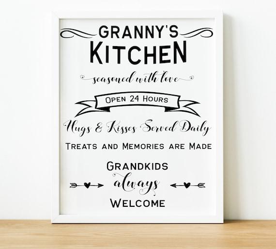 Grandmas Kitchen Sign Grannys Kitchen Rules Quote Print Etsy