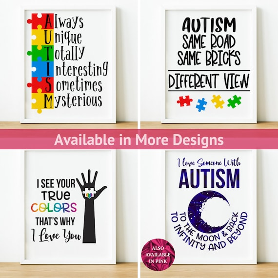 Autism Family I Love You To The Moon  Canvas With Framed Poster no Framed