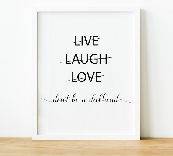 Funny Live Laugh Love Quote Prints, Minimalistic Above Bed Art,  Inspirational Quotes Typography Wall Art, Bedroom Decor and Dorm Decor,