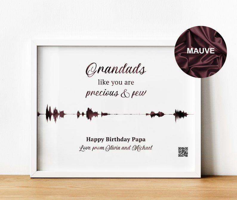 Personalised Sound Wave Print with QR Code, Grandfather Gift for Birthday  or Fathers Day, Sentimental Gifts New Dad Gift from Grandchildren