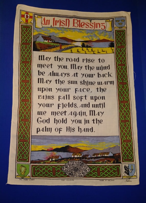 Map Of Ireland On Your Face.4 Irish Wall Linens Irish Blessing Map Of Ireland Irish Etsy