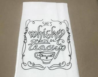 Tea towel She's Whiskey In A Tea Cup  Funny Kitchen Black White Linen Personalized Southern wedding bridal bachelorette housewarming