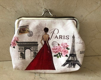 01bc2f8a1cd8f1 Paris wallet retro vintage 13 x 11 cm atmosphere couture