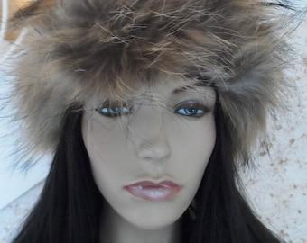 one size headband genuine raccoon fur