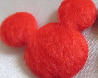 set of 5 appliques Mickey Minnie red effect fabric plush 25 x 30 mm