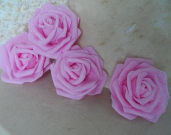 set of 4 pink flowers 7 cm appliques for sewing or craft