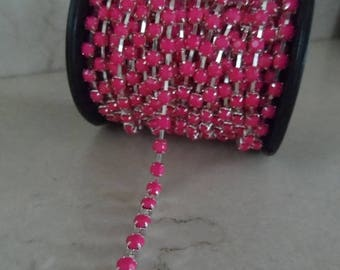 1 meter Ribbon chain rhinestone pink 4 mm