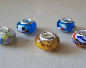 Set of 5 Lampwork Glass Beads and Silver 925/1000