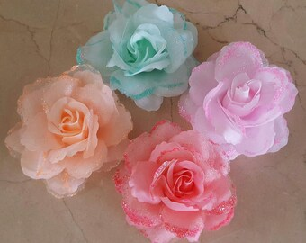 set of 4 appliques flowers with glitter 8 cm