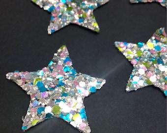Set of 4 stars with glitter Rainbow 40 mm