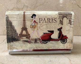 Paris vintage business card case