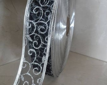 2 meters of black and silver 38 mm organza Ribbon