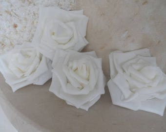 set of 4 white flowers 8cms appliques for sewing or craft