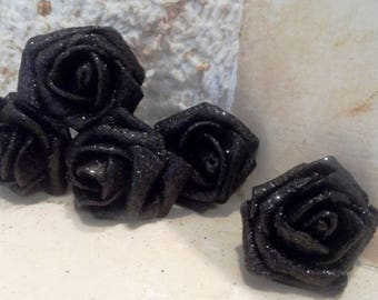 set of 5 black flowers with 5 cm glitter appliques for sewing or craft