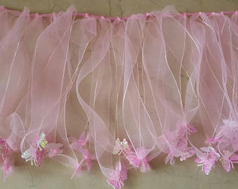 Elastic lace in organza with butterflies
