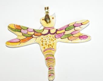 Porcelain Dragonfly design - unique shape pendant