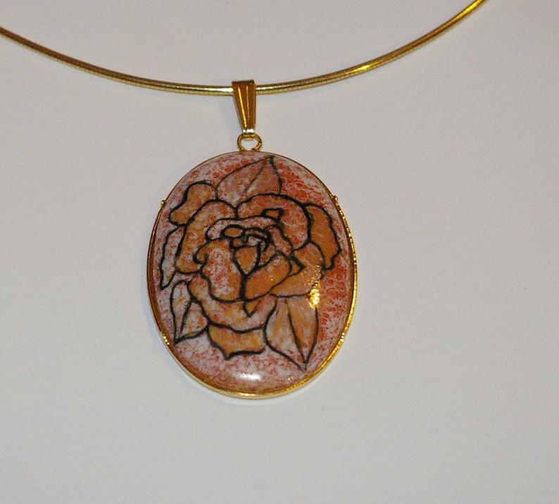Porcelain pendant hand-painted Golden brass
