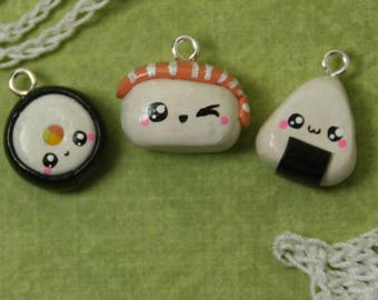 Charming Kawaii Sushi Polymer Clay Charm Set-Three Cute Sushi Charms-Great Gift For Family or Friends-Handmade in USA