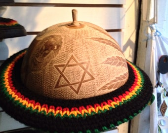 Calabash round hat and crochet rastacolor