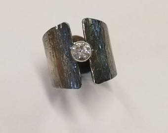 Hand hammered Sterling Silver Petina CZ Ring