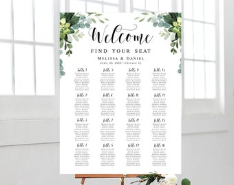 Welcome wedding seating chart Editable template Guest list Eucalyptus seating chart poster printable Foliage Download #swc5