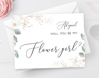 Will you be my flower girl card Fully editable template Bridal proposal card Printable Gold foliage Digital DIY Download #swc10
