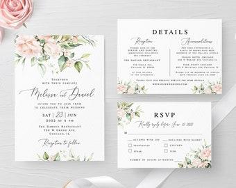 Floral wedding invitation suite Fully editable template RSVP Details insert Printable Pink roses Digital DIY Download #swc11