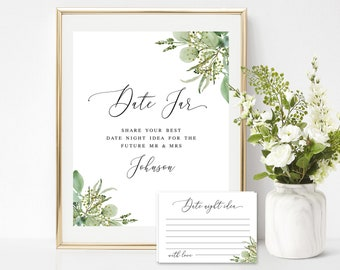 Date jar sign and cards Self-editing template Bridal shower game Couples night ideas Wedding pink roses Digital Download #swc11