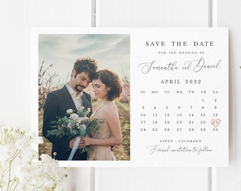 Calendar save the date Fully editable template With photo Wedding announcement Printable Personalized Instant Download  #swc19