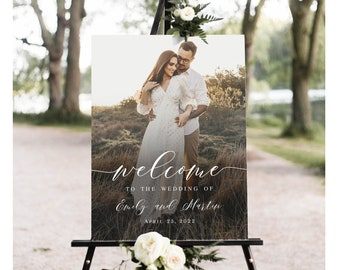 Photo welcome sign Fully editable template Welcome wedding board printable Reception poster Digital Download Templett