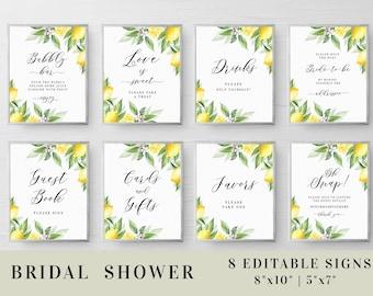 Bridal shower signs set Editable template Bridal signage Custom sign Printable Bundle Wedding Lemon Download #swc14
