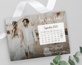 Save the date Photo calendar Fully editable template with picture Wedding announcement Printable Download DIY personalized Templett