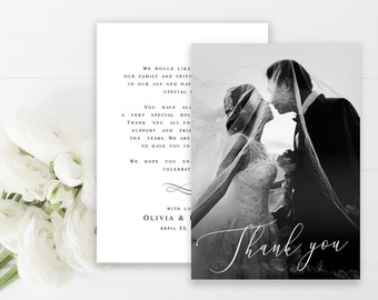 Wedding photo thank you double sided card Fully editable template Thank you card with photo Edit yourself Digital Download DIY  #swc19