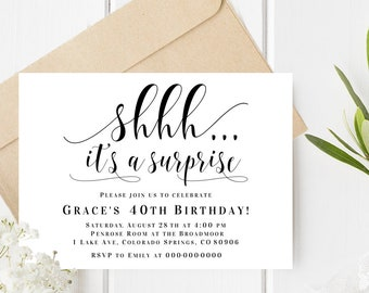 Surprise Party Invitation Template Shhh Its A Birthday Editable PDF Instant Download