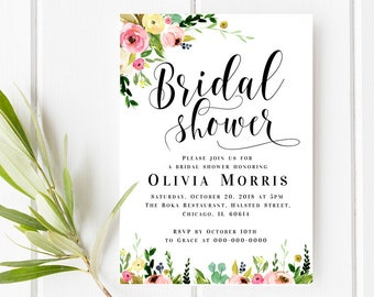 bridal shower invitation template floral bridal shower invite editable invitation printable invitation editable pdf instant download