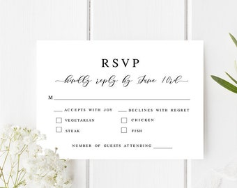 Wedding RSVP card Fully editable template Rehearsal dinner invitation insert card Kindly reply Pink roses Printable Download #swc11