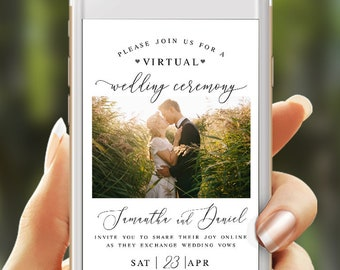 Electronic virtual wedding invite Fully editable template With photo Announcement New plan Paperless Digital Download #swc19
