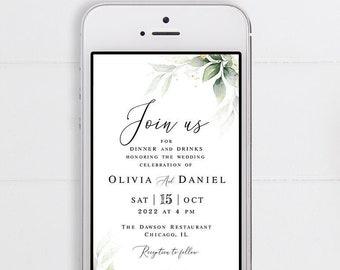 Electronic wedding invitation Editable template Text message invite Paperless Digital Wedding gold foliage #swc10