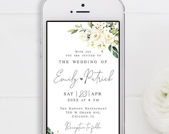 Electronic wedding invitation template Text message invite Editable Eco Friendly Paperless iPhone White roses Download #swc8