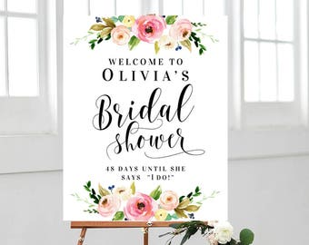 welcome bridal shower floral sign welcome sign printable editable template wedding shower decor bridal shower decorations party welcome