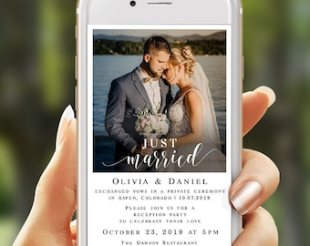 Electronic wedding elopement invitation Just married invite with photo Editable template Reception party Digital Phone Download Templett