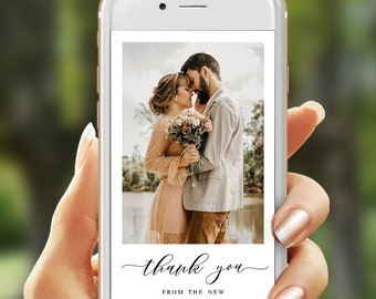 Electronic thank you template Fully editable With photo Wedding thank you Paperless Phone Eco friendly Digital Download Templett