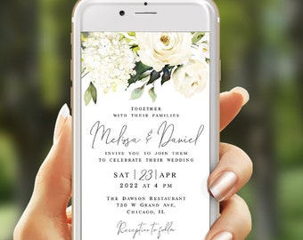 Electronic wedding invitation template Text message invite Paperless Eco Friendly Digital Phone Floral White roses Download #swc8