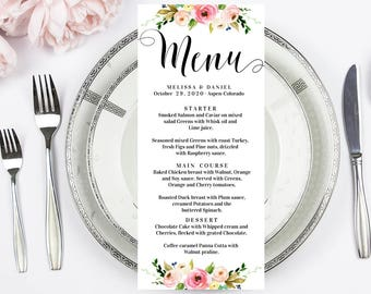 wedding menu template wedding menu printable editable wedding menu calligraphy menu cards birthday menu floral menu rustic menu template