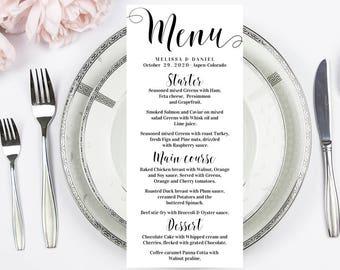 Birthday menu Etsy