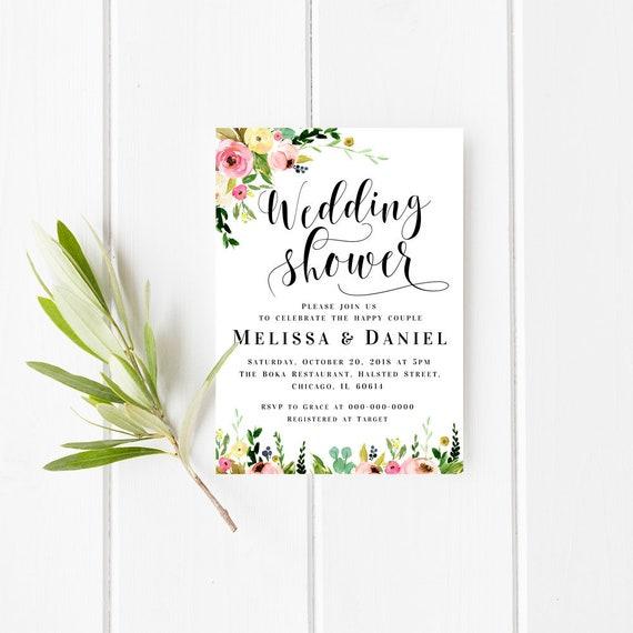 Wedding Shower Invitation Template Floral Wedding Invite Cards Editable Invitation Printable Invitation Diy Wedding Invite Editable Pdf