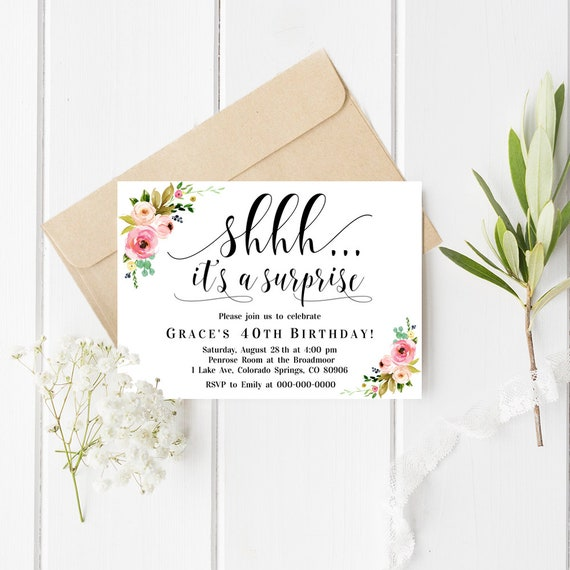 Floral Surprise Birthday Invitation Surprise Party Invitation Template Shhh It S A Surprise Invitation Editable Pdf Instant Download