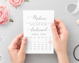 Calendar bridesmaid proposal card Fully editable template Will you be my Printable Simple Elegant Digital DIY Download #swc19